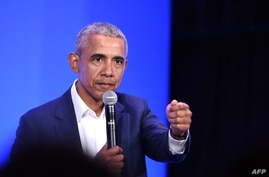 (FILES) In this file photo former US President Barack Obama speaks at the MBK Rising! My Brother's Keeper Alliance Summit in…