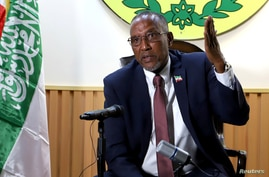 Muse Bihi Abdi, of Somaliland speaks during a news conference in his office in Hargeysa, in northern Somalia's semi-autonomous…