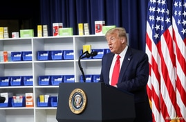 U.S. President Donald Trump speaks prior to signing executive orders on lowering drug prices in the Eisenhower Executive Office…