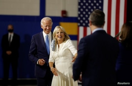 Democratic presidential candidate and former Vice President Joe Biden, his wife, Jill Biden, vice presidential candidate…