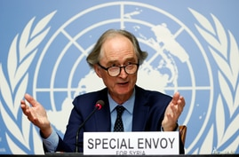U.N. Special Envoy for Syria Geir Pedersen gestures during a news conference ahead of a meeting of the Syrian Constitutional…