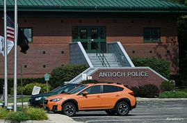 A view of the Antioch Police Department in the hometown of suspect Kyle Rittenhouse, 17, who was arrested on a warrant and…