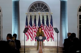 First lady Melania Trump arrives to speak on the second day of the Republican National Convention from the Rose Garden of the White House, in Washington, Aug. 25, 2020.