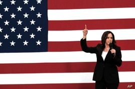 Democratic presidential candidate Sen. Kamala Harris, D-Calif., talks during her first campaign organizing event at Los Angeles…