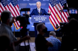 "Democratic presidential candidate former Vice President Joe Biden speaks at a campaign event at the William ""Hicks"" Anderson…"
