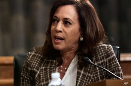 Sen. Kamala Harris, D-Calif., speaks during a Senate Homeland Security and Governmental Affairs Committee hearing to examine…