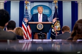 President Donald Trump speaks at a news conference in the James Brady Press Briefing Room at the White House, Tuesday, Aug. 11,…