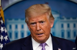 President Donald Trump speaks at a news conference in the James Brady Press Briefing Room at the White House, Thursday, Aug. 13…