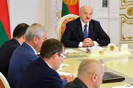 Belarusian President Alexander Lukashenko chairs a Security Council meeting in Minsk, Belarus, Aug. 18, 2020.