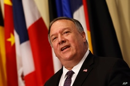 Secretary of State Mike Pompeo speaks to reporters following a meeting with members of the U.N. Security Council, Thursday, Aug…