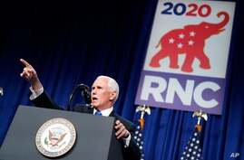 Vice President Mike Pence speaks at the 2020 Republican National Convention in Charlotte, N.C.,  Aug. 24, 2020. (AP…
