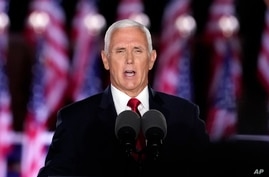 Vice President Mike Pence speaks on the third day of the Republican National Convention at Fort McHenry