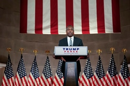 Housing and Urban Development Secretary Ben Carson speaks on the fourth day of the Republican National Convention from the…