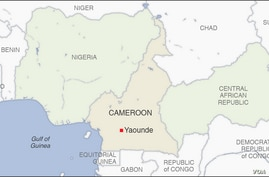 Map of Cameroon, Nigeria, Central African Republic