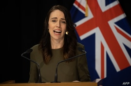 FILE - New Zealand's Prime Minister Jacinda Ardern speaks to the media during a press conference at the Parliament in Wellington, Aug. 17, 2020.