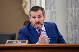 Sen. Ted Cruz, R-Texas, asks a question during a Senate Commerce, Science, and Transportation committee hearing to examine the Federal Communications Commission on Capitol Hill in Washington, June 24, 2020.