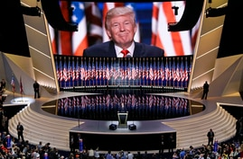 FILE - Then-Republican presidential candidate Donald Trump smiles as he addresses delegates during the final day of the Republican National Convention in Cleveland, Ohio, July 21, 2016.