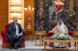 U.S. Secretary of State Mike Pompeo meets with Bahrain King Hamad bin Isa Al Khalifa during his visit to Manama, Bahrain, Aug. 26, 2020. (Bahrain News Agency/Handout via Reuters)