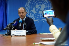 David Shearer, the united nation's head of mission in South Sudan (UNMISS), speaks during a news conference in Juba, South…