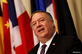 FILE PHOTO: U.S. Secretary of State Mike Pompeo speaks to reporters following a meeting with members of the U.N. Security…