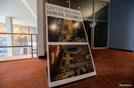 A sign is seen outside the General Assembly Hall at United Nations headquarters during the 75th annual U.N. General Assembly.