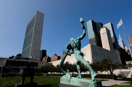 The United Nations headquarters is seen from the North sculpture garden during the 75th annual U.N. General Assembly high-level…