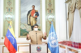Venezuela's President Nicolas Maduro speaks at the 75th UN annual meeting from Miraflores Palace in Caracas, Venezuela…