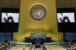President of Islamic Republic of Iran Hassan Rouhani speaks virtually during the 75th annual U.N. General Assembly, which is…