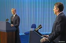 U.S. President Jimmy Carter and California Governor Ronald Reagan during a U.S. presidential election debate in Cleveland, Ohio.