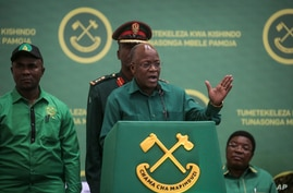 President John Magufuli speaks at the national congress of his ruling Chama cha Mapinduzi (CCM) party in Dodoma, Tanzania…