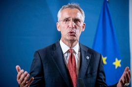 Jens Stoltenberg, NATO Secretary General, speaks at a press statement at the beginning of the informal meeting of EU defence…