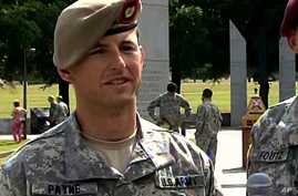 In this image from video provided by the U.S. Army, then-Sgt. 1st Class Thomas Payne is interviewed as a winner of the 2012…
