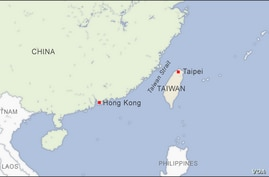 Map of Hong Kong and Taiwan