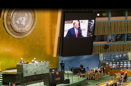 President Trump speaks during the 75th annual U.N. General Assembly, which is being held mostly virtually due to the COVID-19 pandemic in New York, Sept. 22, 2020.