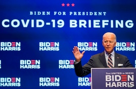 Democratic presidential candidate former Vice President Joe Biden speaks after participating in a coronavirus vaccine briefing with public health experts, in Wilmington, Delaware, Sept. 16, 2020.