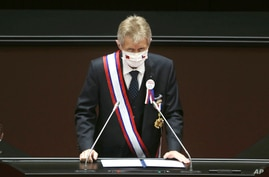 Czech Senate President Milos Vystrcil delivers a speech at the Legislative Yuan in Taipei, Taiwan, Sept. 1. 2020.