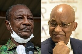 (COMBO/FILES) This combination of file pictures created on October 13, 2020 showsGuinea President Alpha Conde (L) addresses…