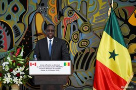 Senegal's President Macky Sall attends a joint news conference with Canada's Prime Minister Justin Trudeau at the presidential…