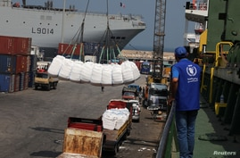 Humanitarian aid donated by World Food Program (WFP), are unloaded at Beirut's port, in Beirut, Lebanon September 3, 2020…