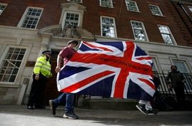 Brexit supporters protest at the Europe House in London, Britain, Sept. 9, 2020.