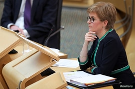Scotland's First Minister Nicola Sturgeon attends First Minister's Questions in the Scottish Parliament in Edinburgh, Scotland,…