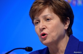 FILE PHOTO: International Monetary Fund (IMF) Managing Director Kristalina Georgieva makes remarks during a closing news…