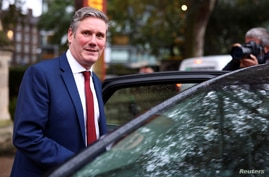 Britain's opposition Labour Party leader Keir Starmer leaves Lambeth Palace following a press conference in London, Britain,…