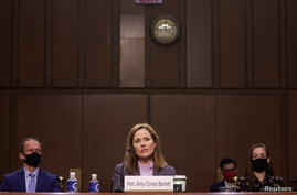 U.S. Supreme Court nominee Judge Amy Coney Barrett testifies on the third day of her U.S. Senate Judiciary Committee hearing.