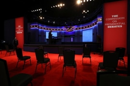 Socially distanced chairs sit in the audience ahead of the second and final debate between 2020 U.S. presidential candidates.