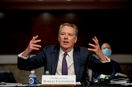 U.S. Trade Representative Robert Lighthizer speaks at a Senate Finance Committee hearing on U.S. trade on Capitol Hill,…