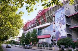 Nissan Stadium, home of the Tennessee Titans, is shown Tuesday, Sept. 29, 2020, in Nashville, Tenn. The Titans suspended in…