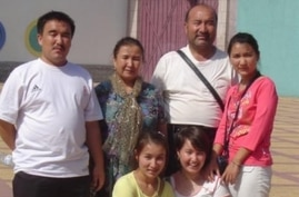 Ghopur Hapiz, back row 2nd right, and Fatima Abdulghafur, front row 2nd left, are seen in Kashgar city in Xinjiang in this undated photo. (Photo courtesy: Fatima Abdulghafur)