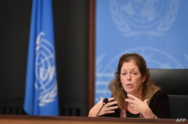 Head of the U.N. Support Mission in Libya Stephanie Williams speaks at a press conference on talks between rival factions in the Libya conflict, at United Nations offices in Geneva, Switzerland, Oct. 21, 2020.
