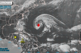 Forecasters say Hurricane Epsilon is about 650 kilometers east to southeast of Bermuda and approaching, Oct. 21, 2020.